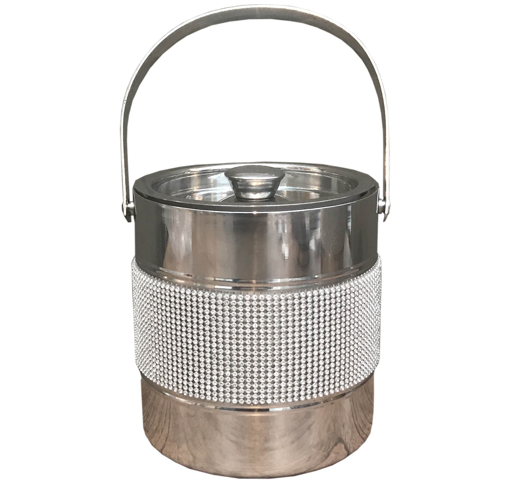 Stainless Steel Jewelled Ice Bucket W/ Handle, Ice Bins by Low Cost Gifts