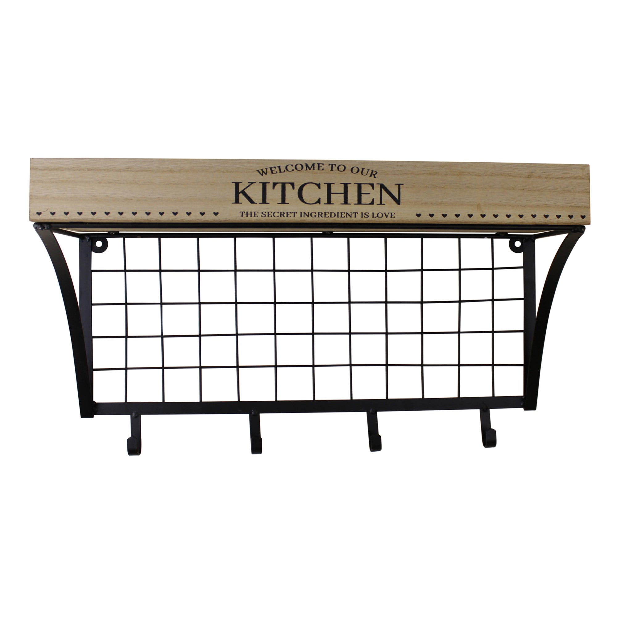 Wall Hanging Kitchen Shelf With Hooks, Clasps & Hooks by Low Cost Gifts