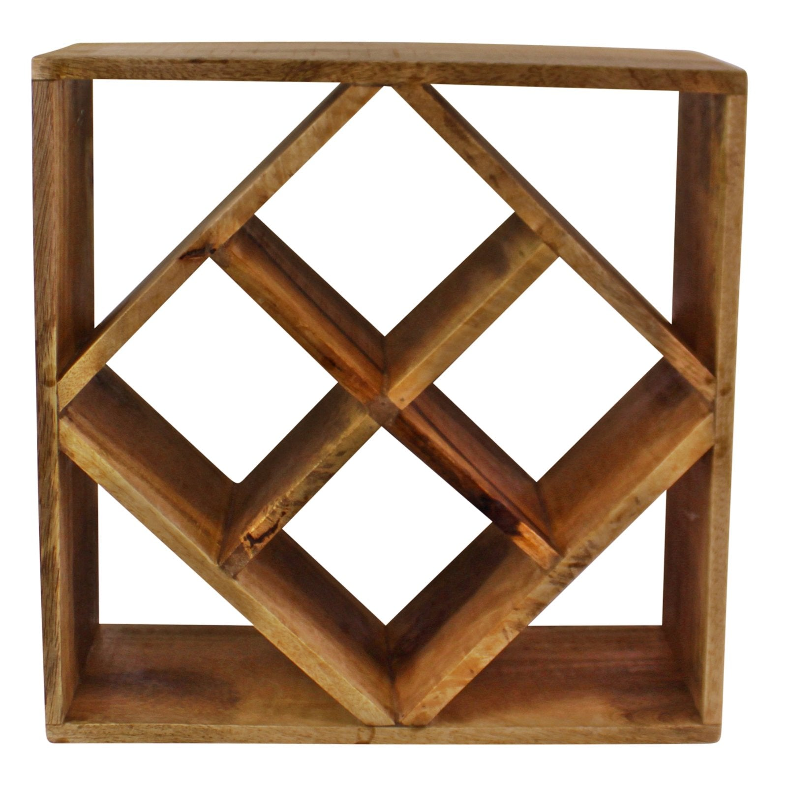 Small Mango Wood Wine Rack, Holds 4 Bottles, Barware by Gifts24-7