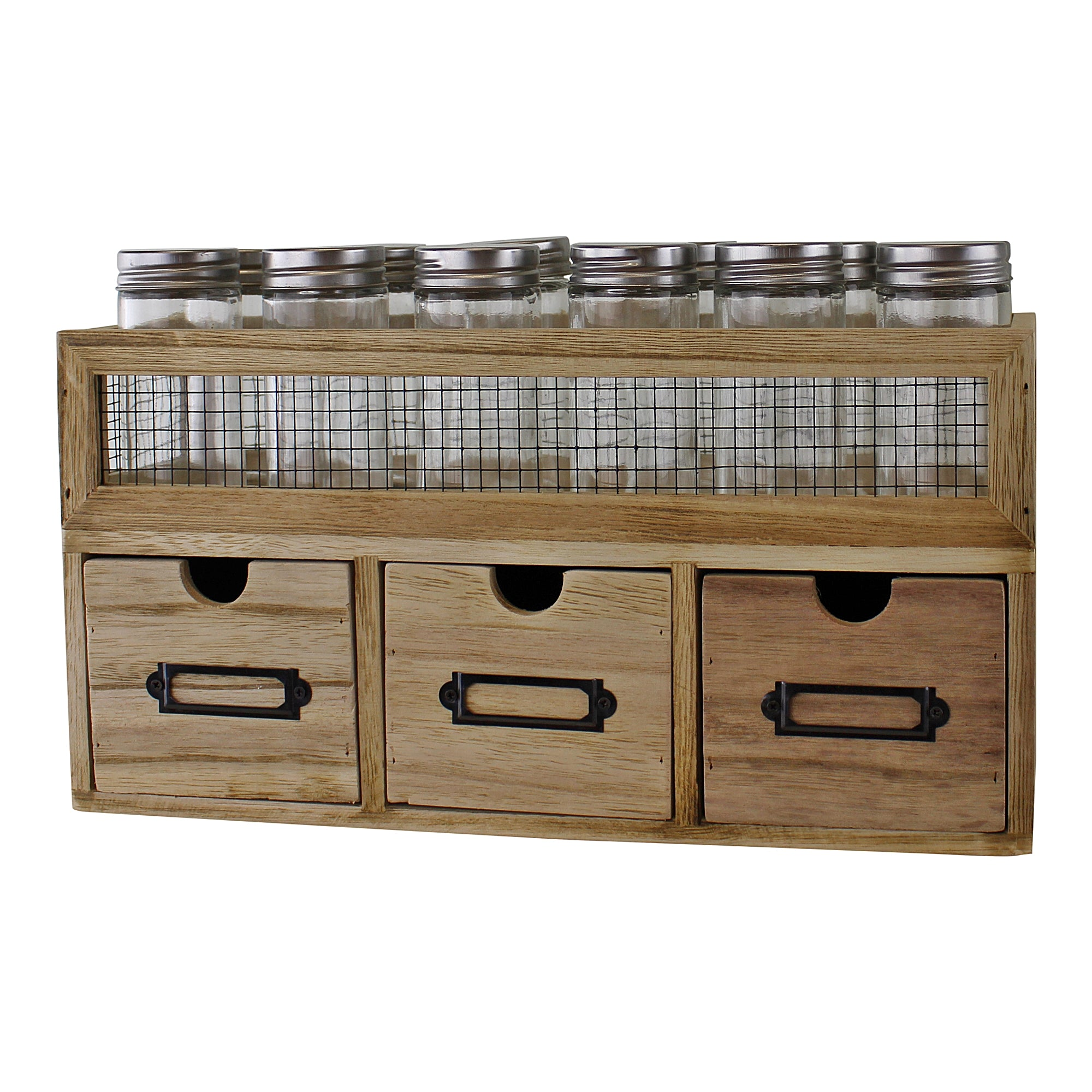 12 Jar Freestanding Spice Rack With Bottles & 3 Drawer Cabinet, Furniture by Low Cost Gifts