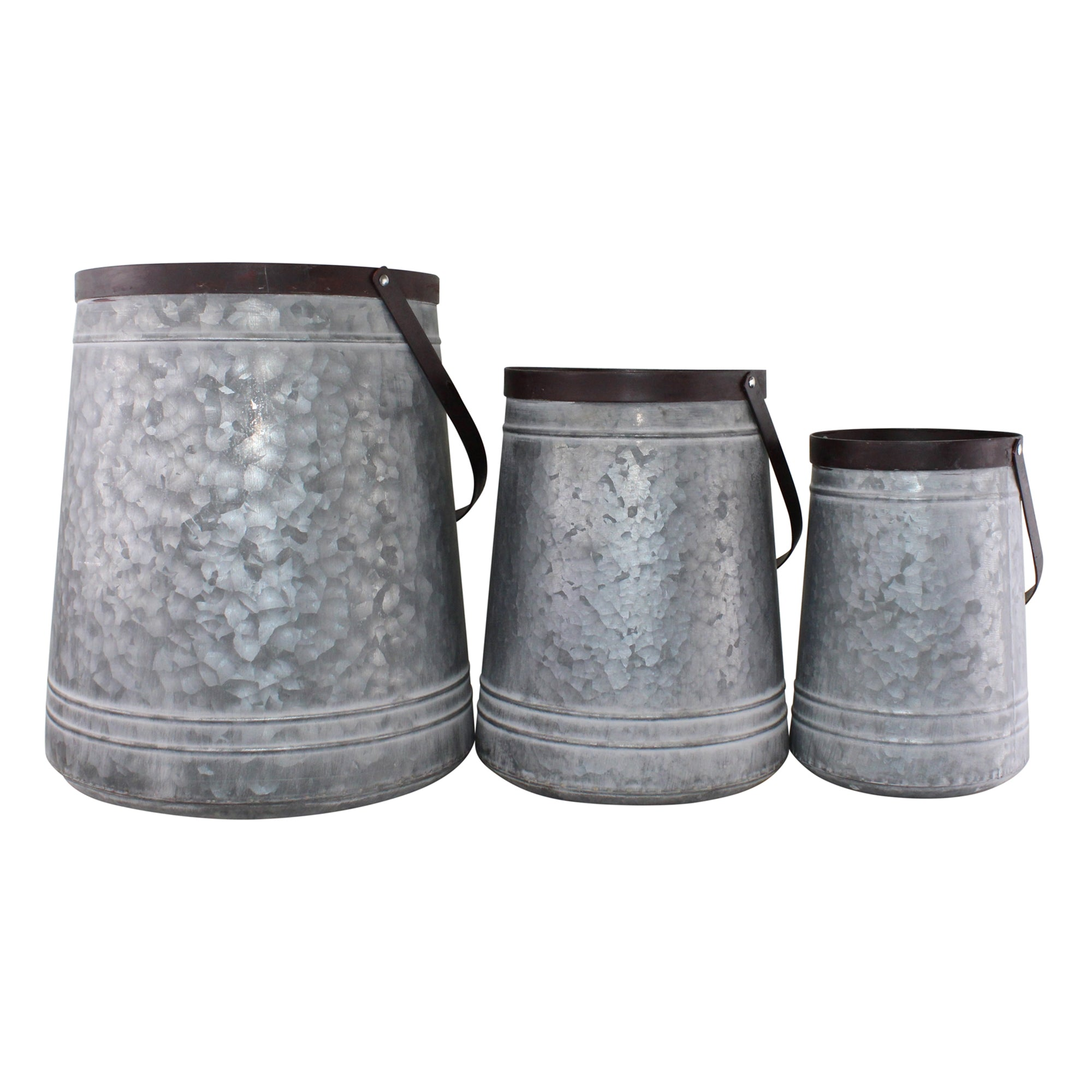 Set of 3 Bucket Style Metal Planters, Lawn & Garden by Low Cost Gifts