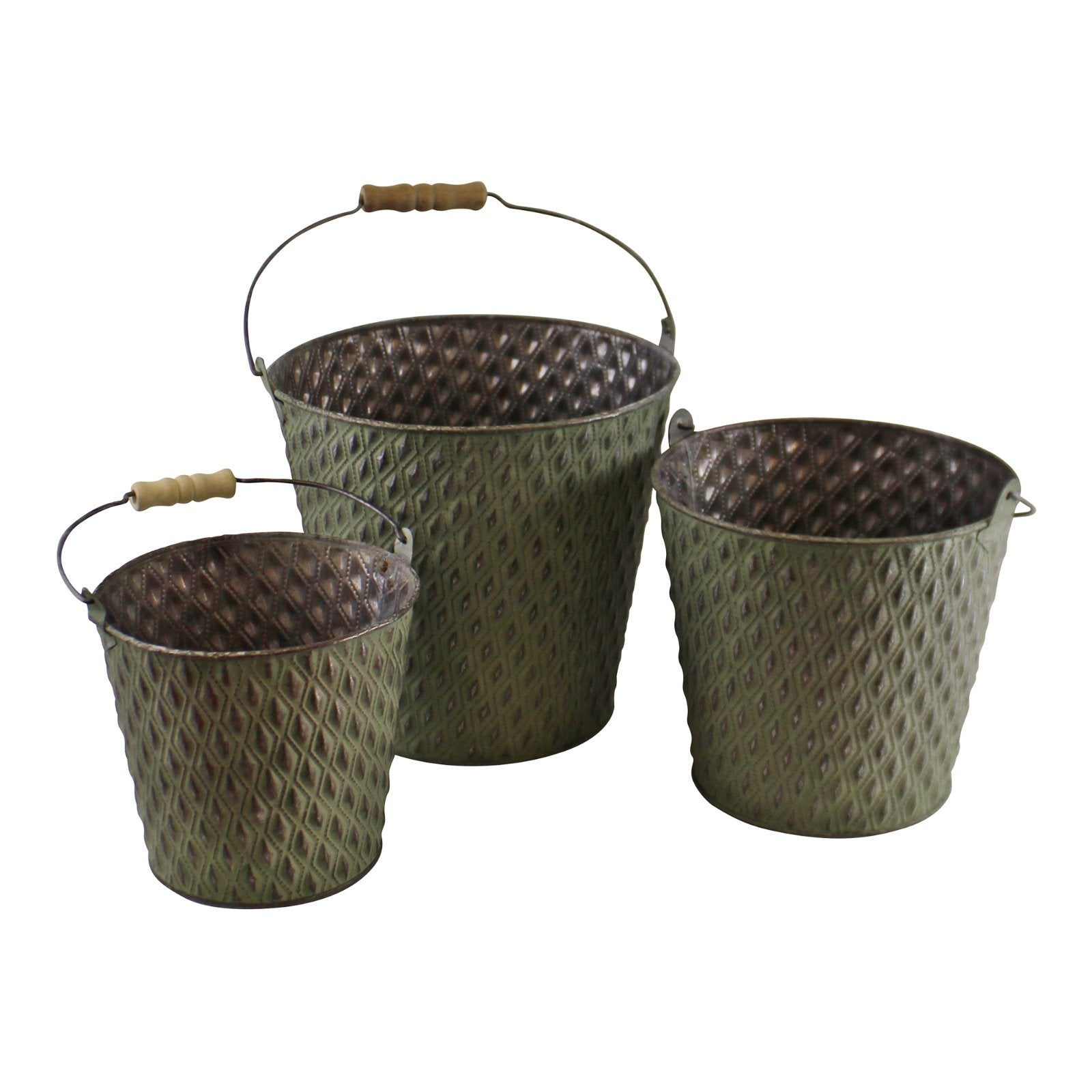 Set Of 3 Bucket Style Zinc Planters In Green, Lawn & Garden by Low Cost Gifts