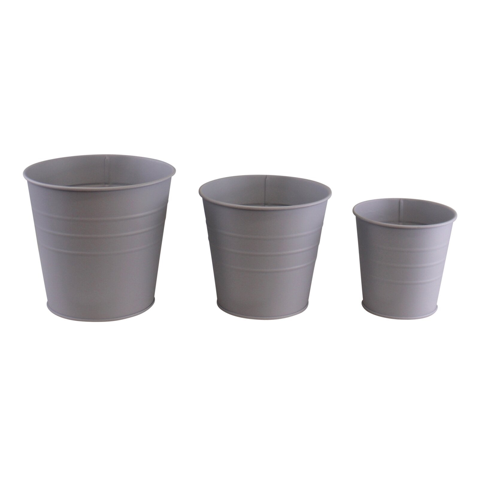 Set of 3 Round Metal Planters, Grey, Lawn & Garden by Low Cost Gifts