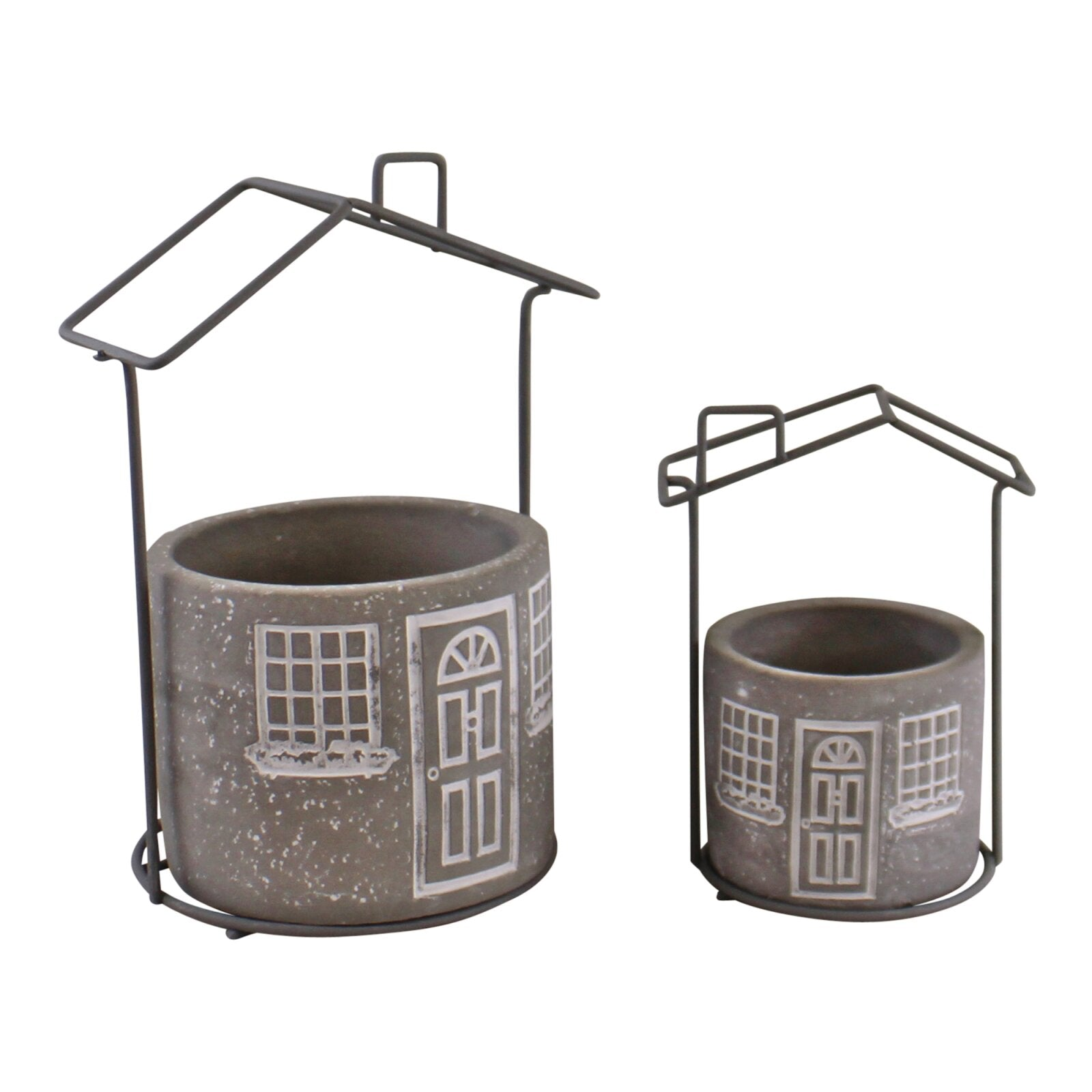 Set of 2 Cement House Planters, Round, Lawn & Garden by Low Cost Gifts
