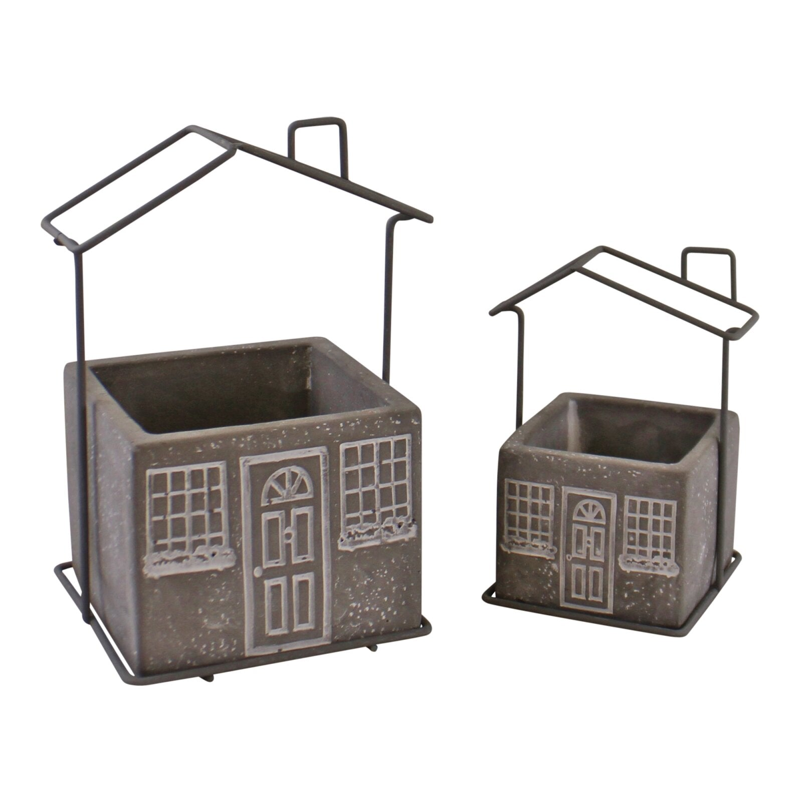 Set of 2 Cement House Planters, Square, Lawn & Garden by Low Cost Gifts