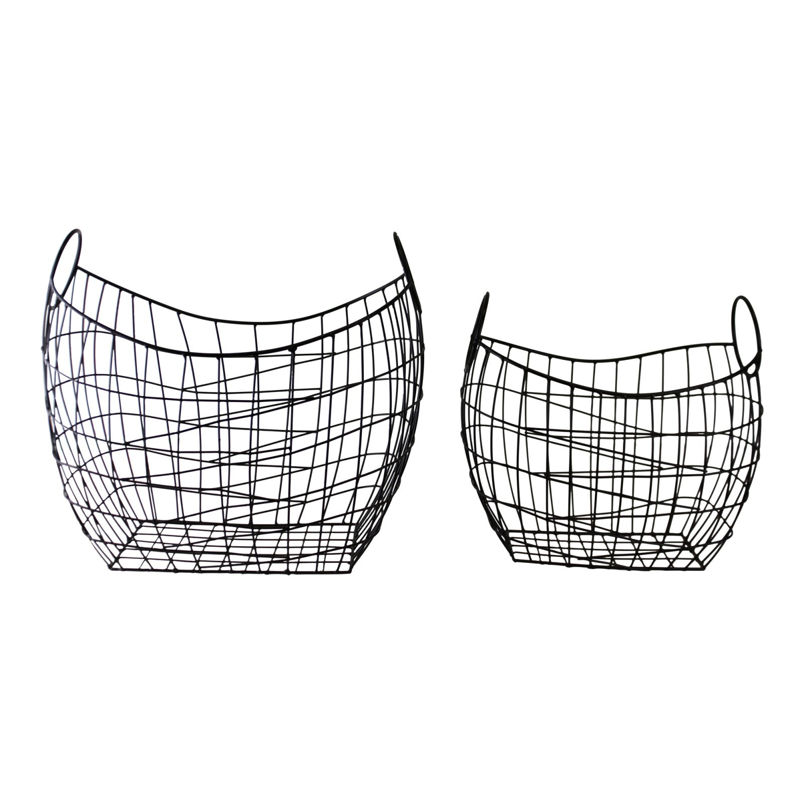 Set of 2 Wire Storage Baskets, Furniture by Low Cost Gifts