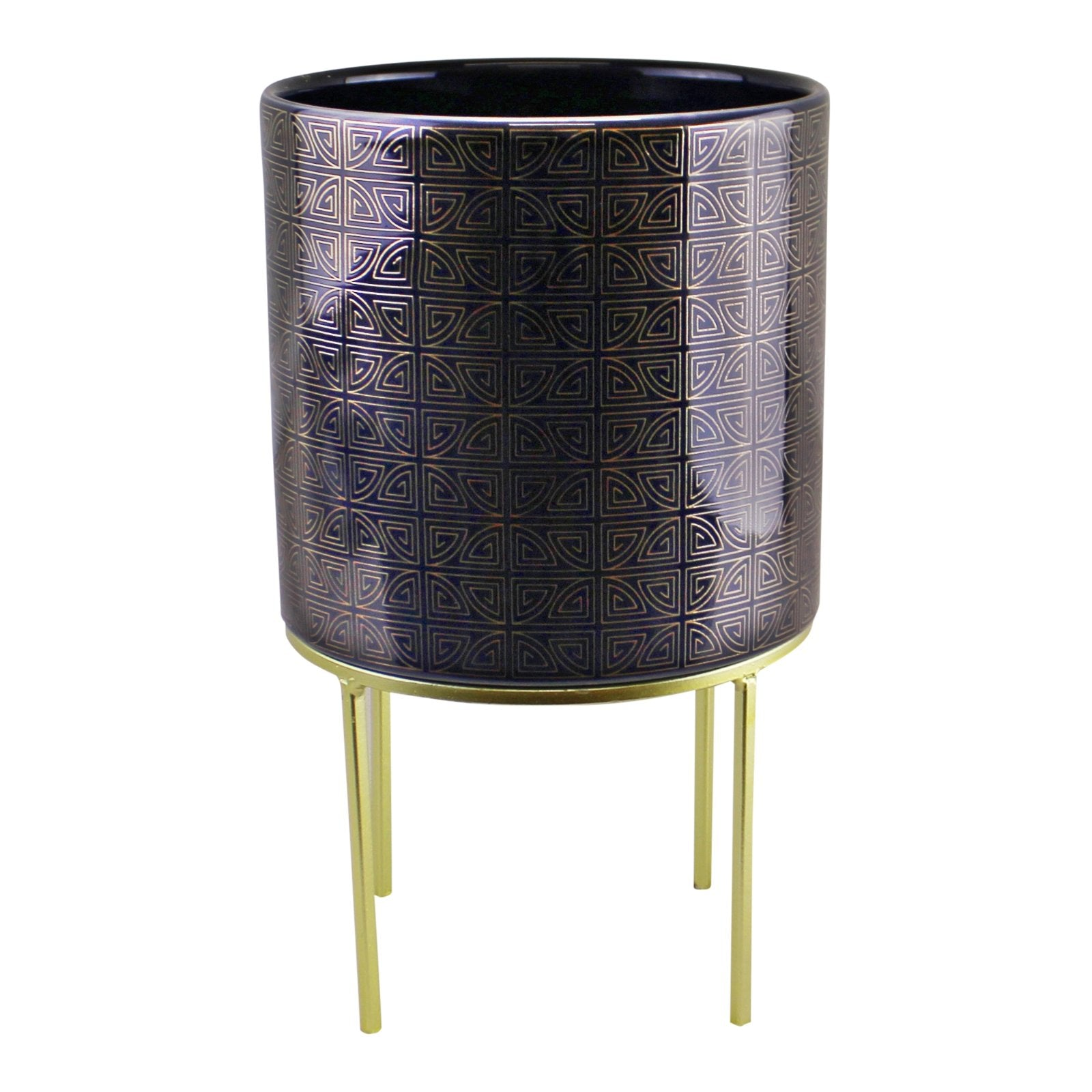 Midnight Blue & Gold Ceramic Planter On Stand, Round Geometric Design, Lawn & Garden by Low Cost Gifts