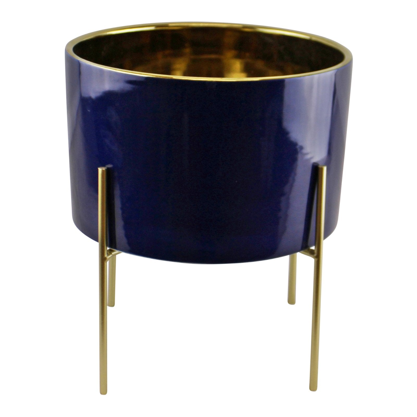 Large Ceramic Gold Lined Planter With Stand, Navy Blue, Lawn & Garden by Low Cost Gifts