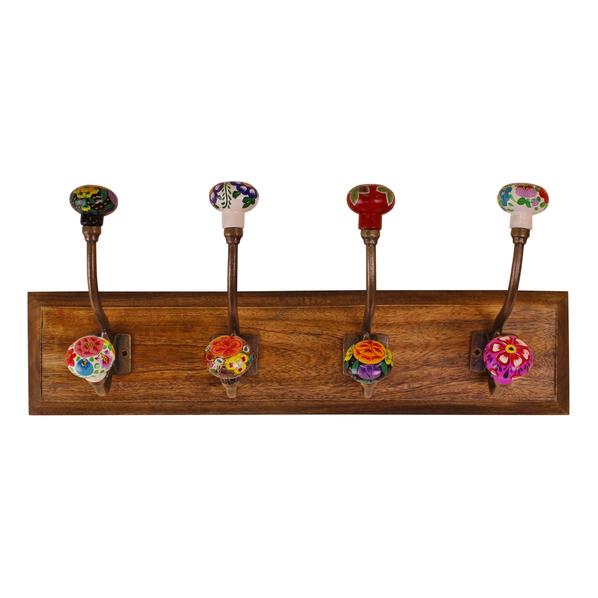 Mexican Floral Ceramic Hooks on Wooden Base, Clasps & Hooks by Low Cost Gifts