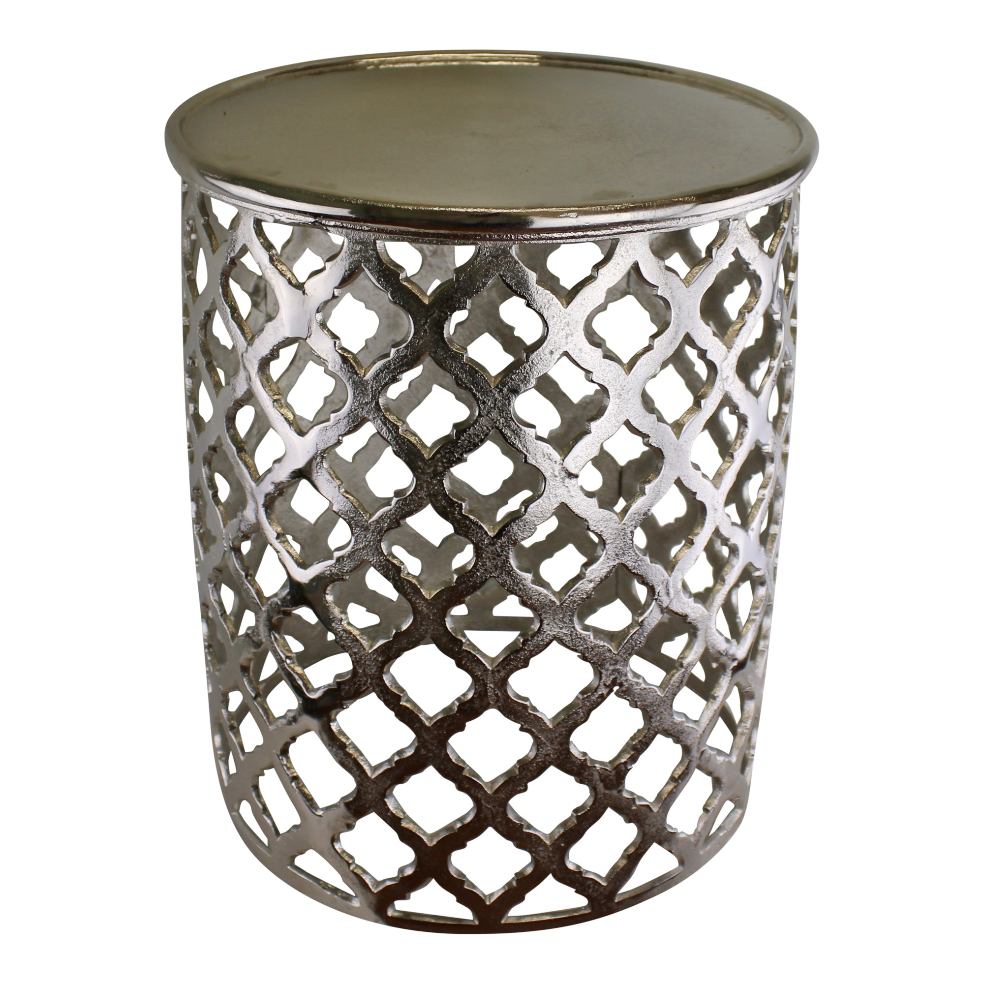 Decorative Silver Metal Side Table, Lattice design, Furniture by Low Cost Gifts
