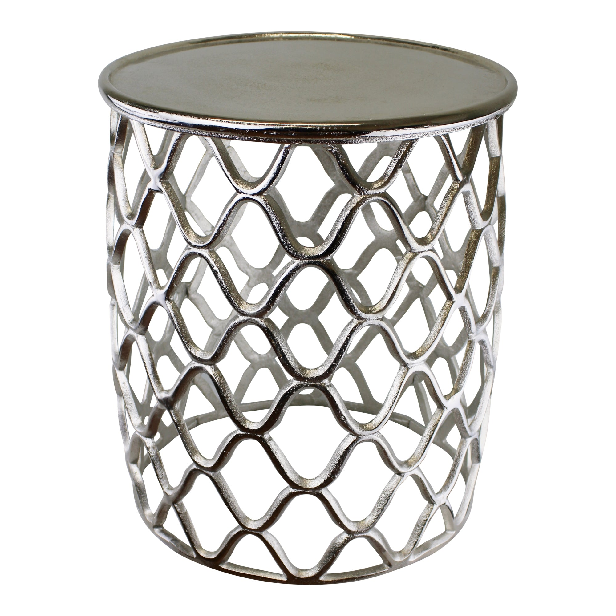 Decorative Silver Metal Side Table, Furniture by Low Cost Gifts