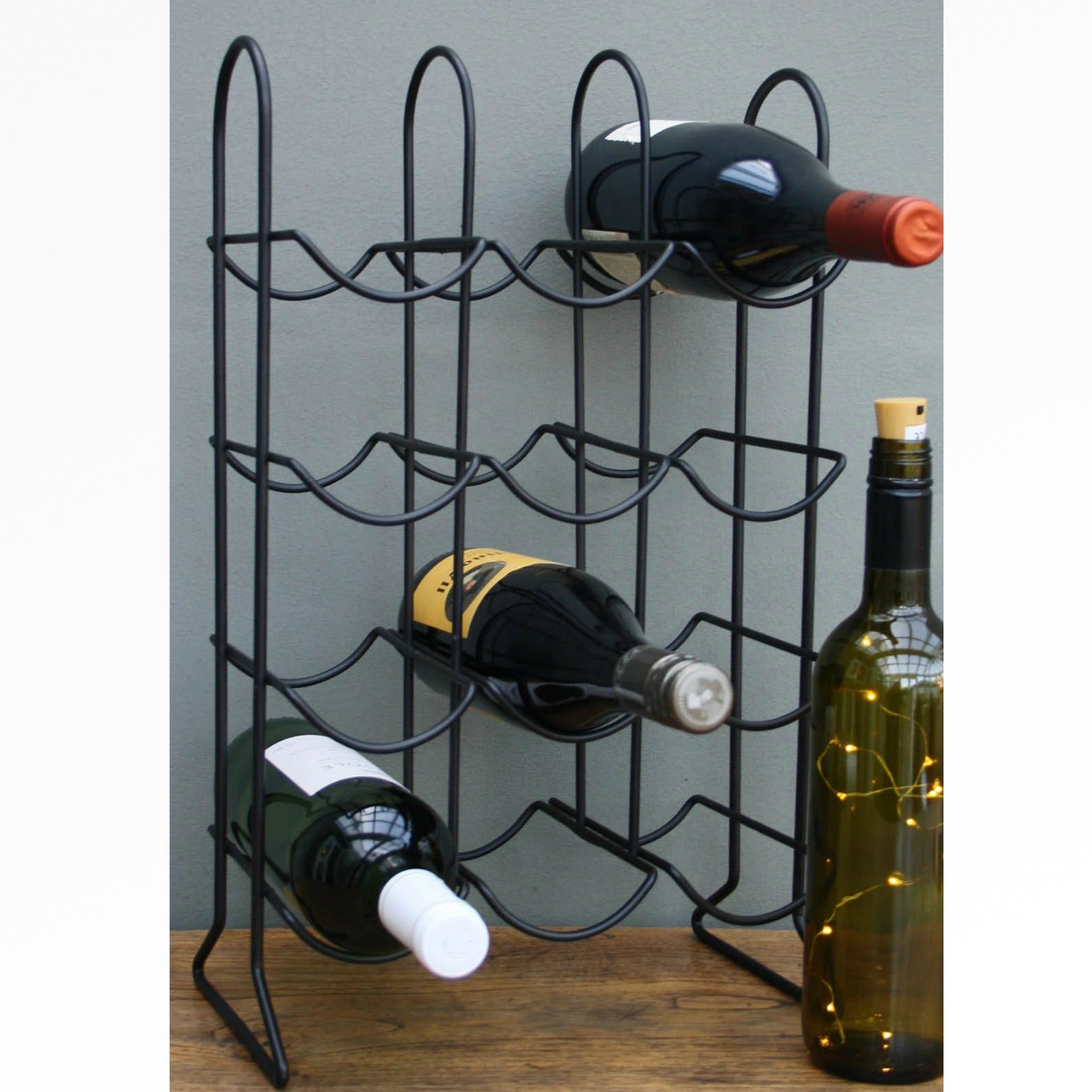 Black Metal 12 Bottle Wine Rack, Furniture by Low Cost Gifts