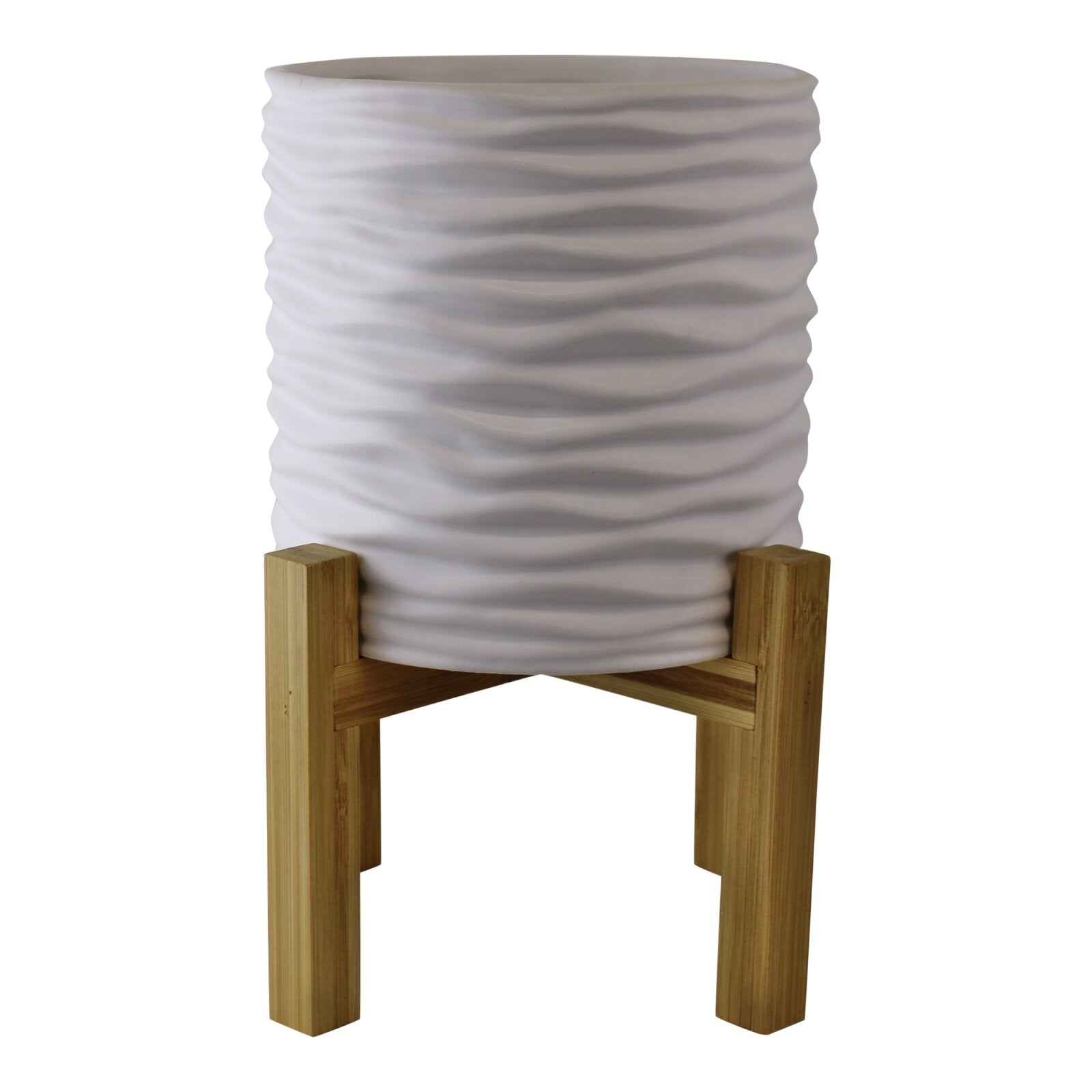 Small White Stoneware Planter On Wooden Stand, Lawn & Garden by Low Cost Gifts