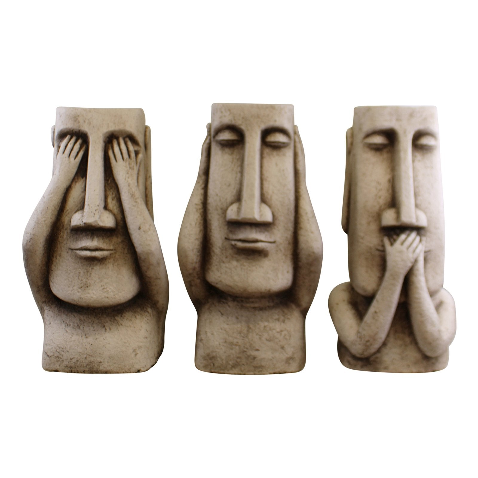 Set Of 3 Stone Effect Resurrection Island Giant Ornament Planters, Lawn & Garden by Low Cost Gifts