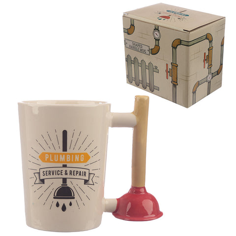 Collectable Toilet Plunger Shaped Handle Ceramic Mug