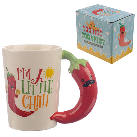 Collectable Chilli Pepper Shaped Handle Ceramic Mug
