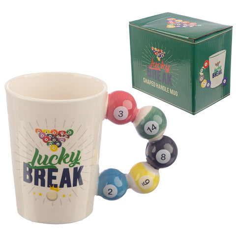 Collectable Pool Balls Shaped Handle Ceramic Mug