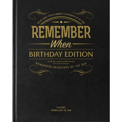 Birthday Edition Newspaper Book - Black Leather Cover | Gifts24-7.co.uk