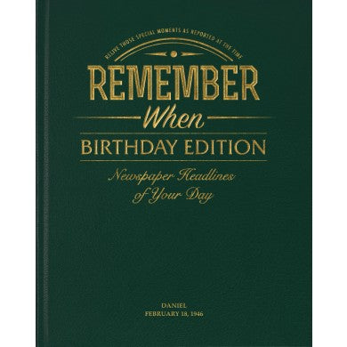 Birthday Edition Newspaper Book - Racing Green Leatherette | Gifts24-7.co.uk