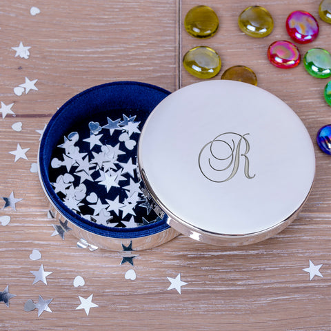 Personalised Round Trinket Box with Initial