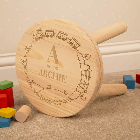 Personalised Boy Alphabet Wooden Stool.
