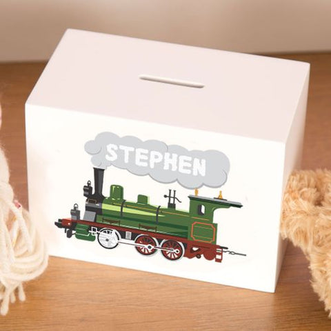 Steam Train Personalised Wooden Money Box for little Boy or Girl
