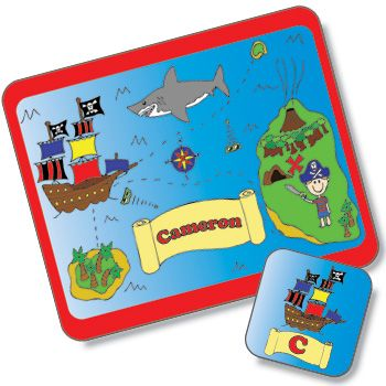 Treasure Map Design Placemat and Coaster Set