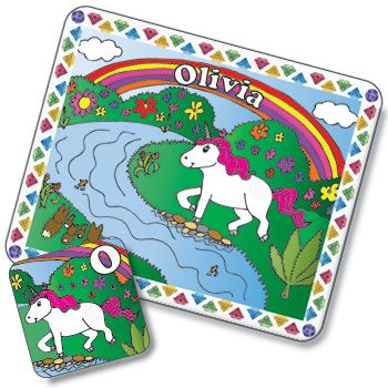 Unicorn Design Placemat and Coaster Set