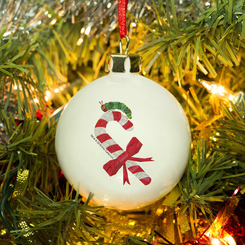Personalised Very Hungry Caterpillar Candy Cane Bone China Bauble