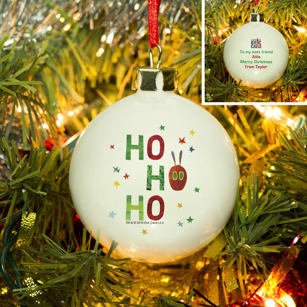 Personalised Very Hungry Caterpillar Ho Ho Ho Bone China Bauble