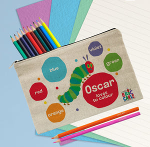 Personalised Very Hungry Caterpillar Loves To Colour Pencil Case