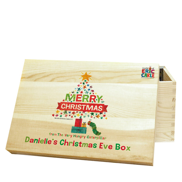 Personalised Very Hungry Caterpillar Merry Christmas Tree Christmas Eve Box