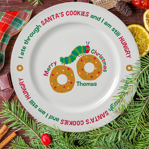 "Personalised Very Hungry Caterpillar Santa's Cookies 8"" Rimmed Plate"