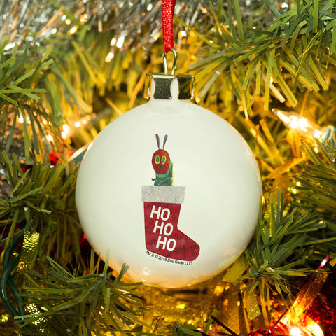 Personalised Very Hungry Caterpillar Red Stocking Bone China Bauble