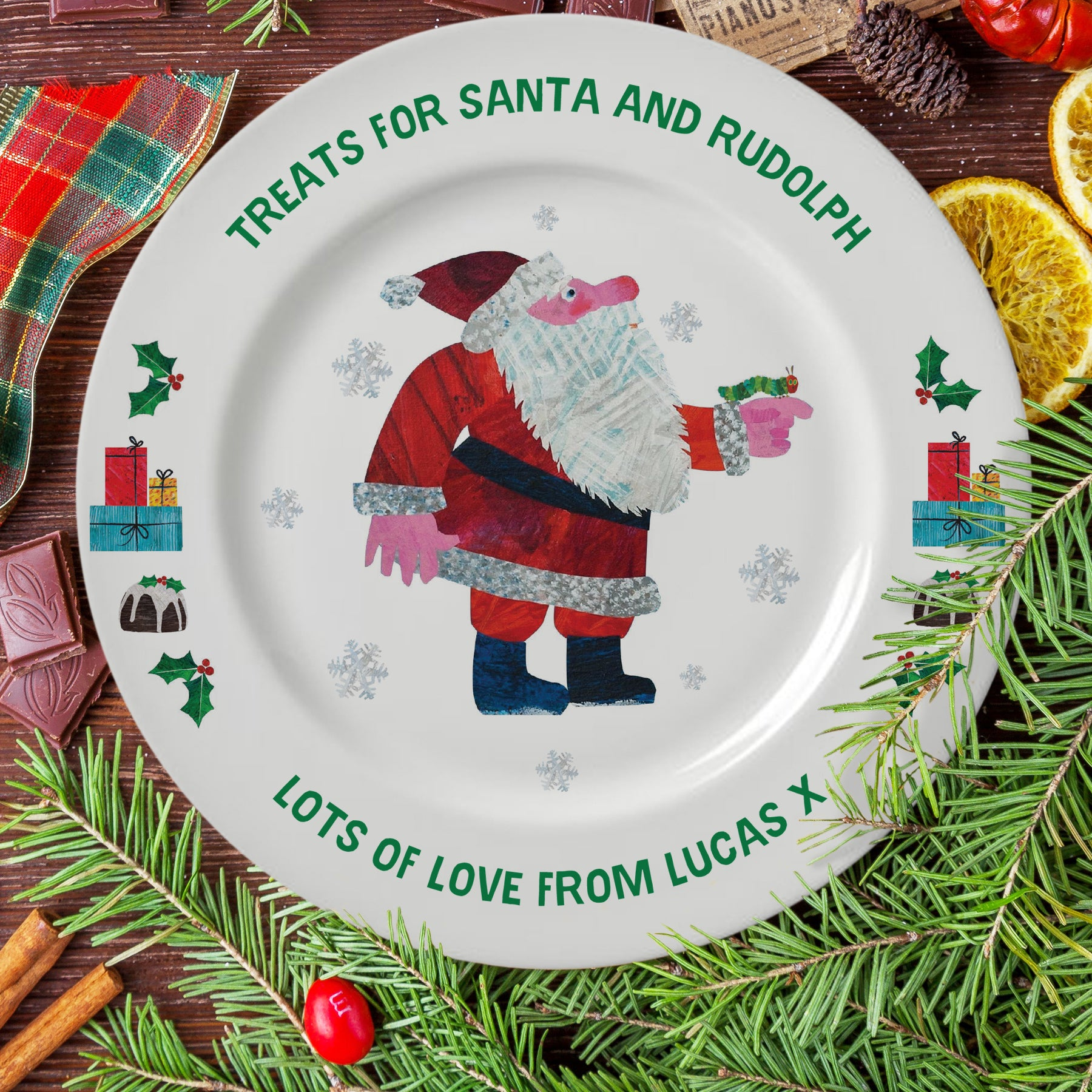 "Personalised Very Hungry Caterpillar Treats For Santa 8"" Rimmed Plate"