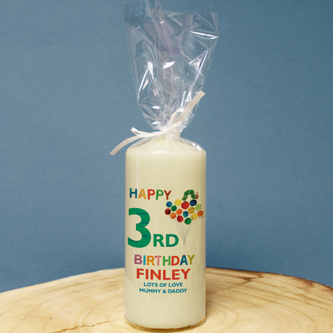 Very Hungry Caterpillar Birthday Pillar Candle