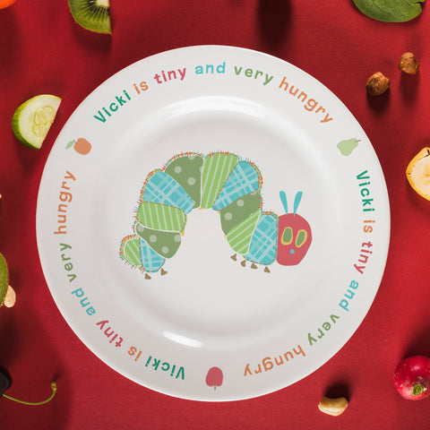 "Very Hungry Caterpillar Tiny & Very Hungry 8"" Bone China Rimmed Plate"