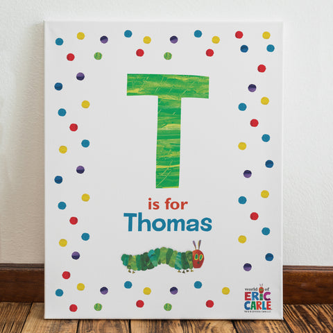 The Very Hungry Caterpillar Dot Initial Canvas