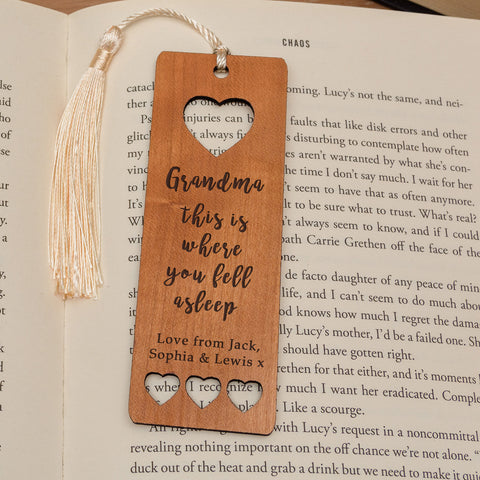 Personalised Wooden Bookmark - Fell Asleep