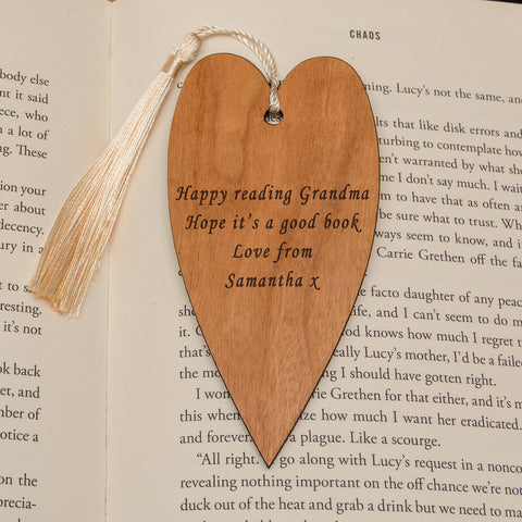 Personalised Heart Wooden Bookmark - Your Message