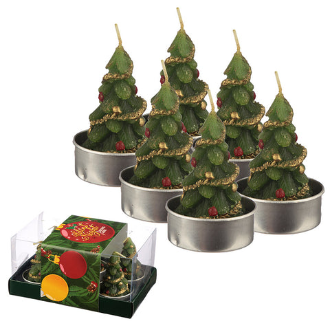 Christmas Tea Light Candle Set of 6 - Christmas Trees