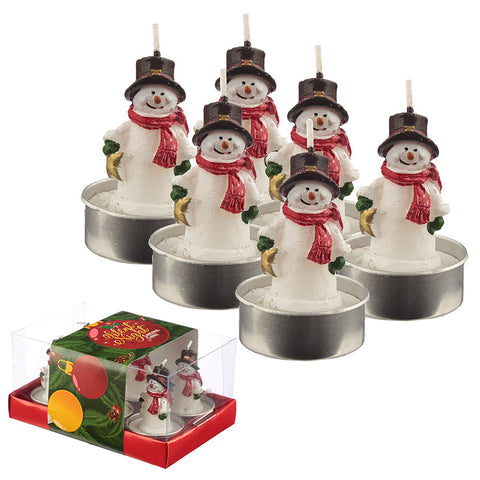 Christmas Tea Light Candle Set of 6 - Snowmen