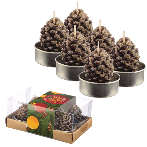 Christmas Tea Light Candle Set of 6 - Pine Cones
