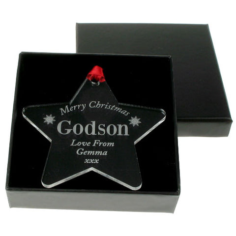 Engraved Godson Christmas bauble | ShaneToddGifts.co.uk