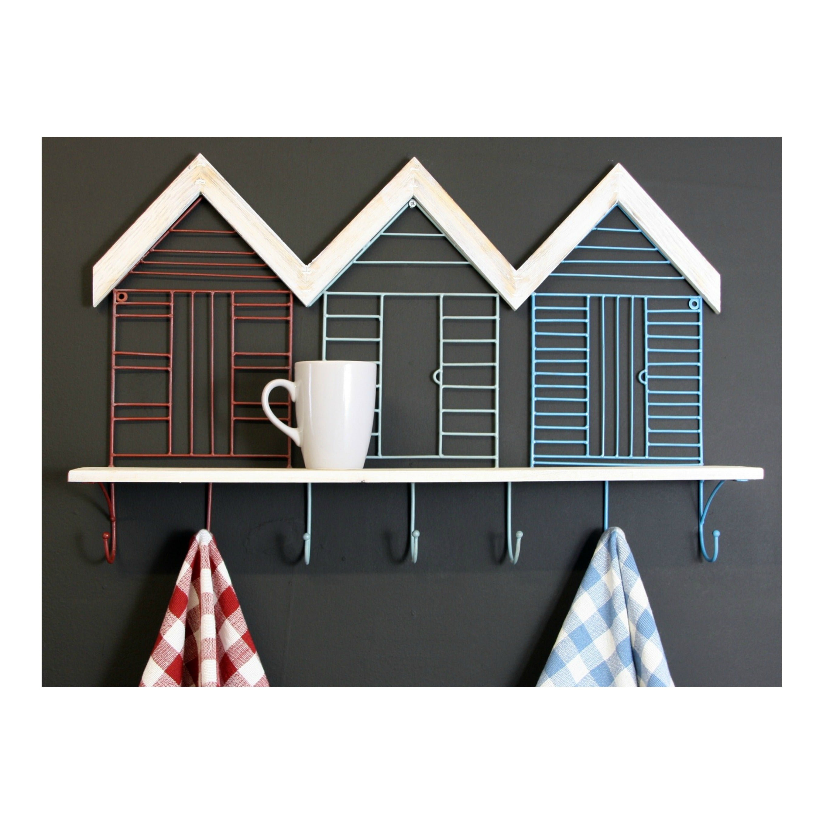 Set Of 7 Beach Hut Wall Hooks With Shelf, Clasps & Hooks by Low Cost Gifts