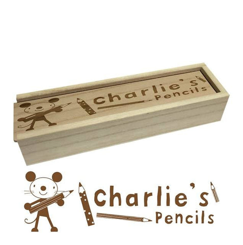 Arty Mouse wooden pencil box & Pencils - Shane Todd Gifts UK