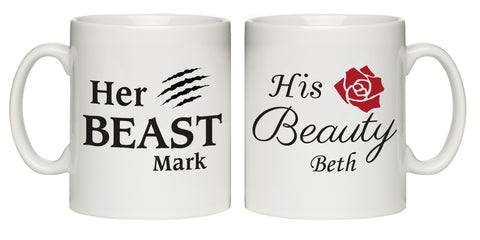Personalised Her Beast & His Beauty Mug Set