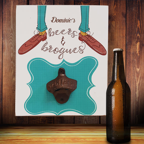 Beers & Brogues Bottle Opener Plaque | ShaneToddGifts.co.uk