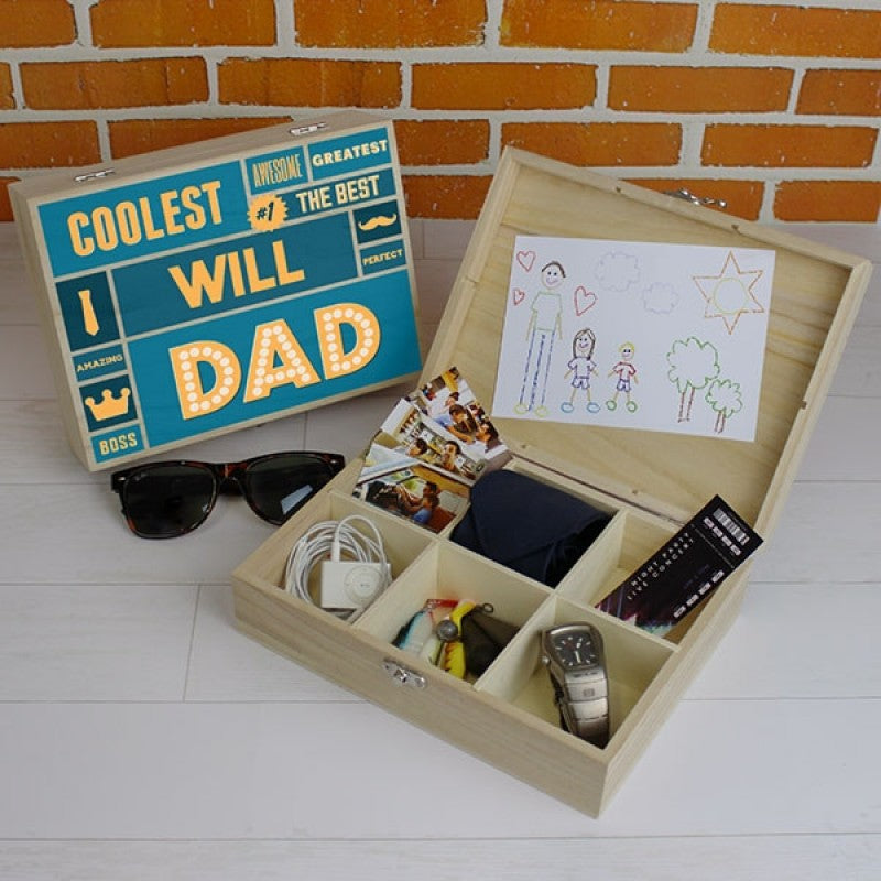 Best Dad - 6 Compartment Wooden Storage Box, Furniture by Low Cost Gifts