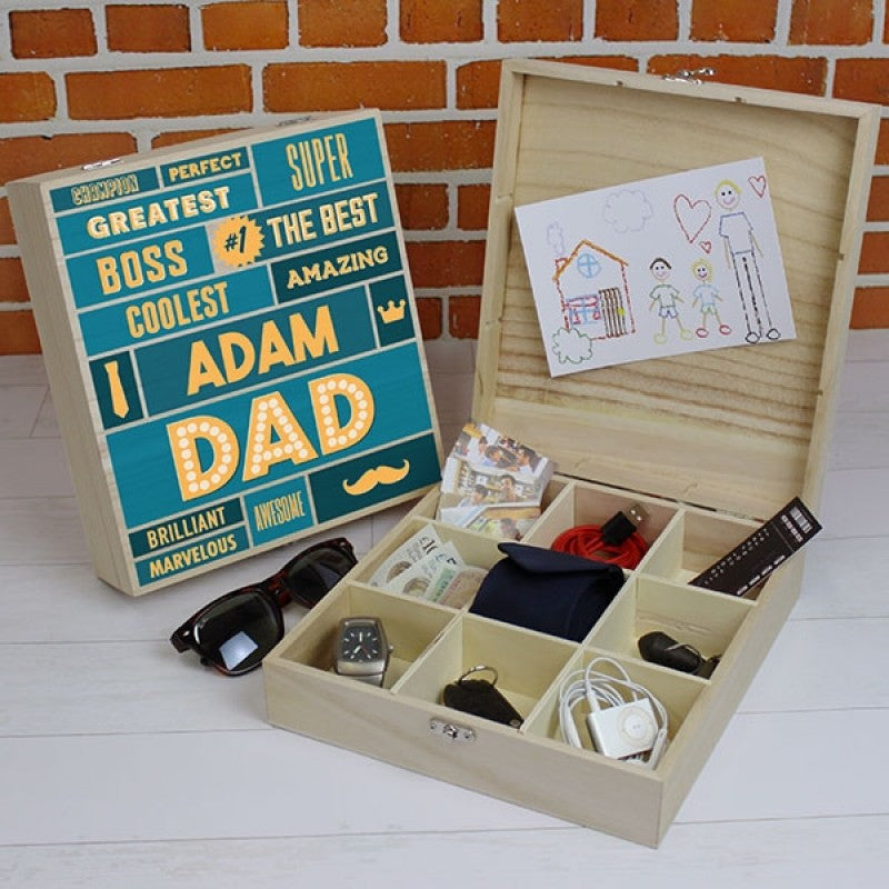 Best Dad - 9 Compartment Wooden Storage Box, Furniture by Low Cost Gifts